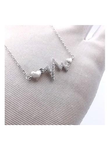 Enesstore 925 Ayar Gümüş Zirkon Taşlı Kalp Ritmi Bayan Kalpli Ritm Kolye Beyaz
